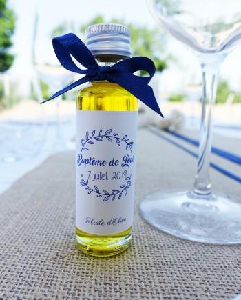 bouteille mignonnette huile olive baptême bleu nuit marine