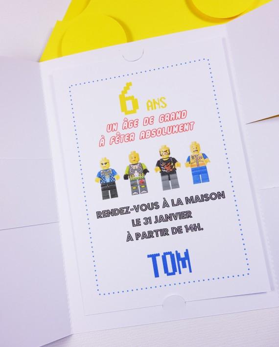 invitation pochette lego 3