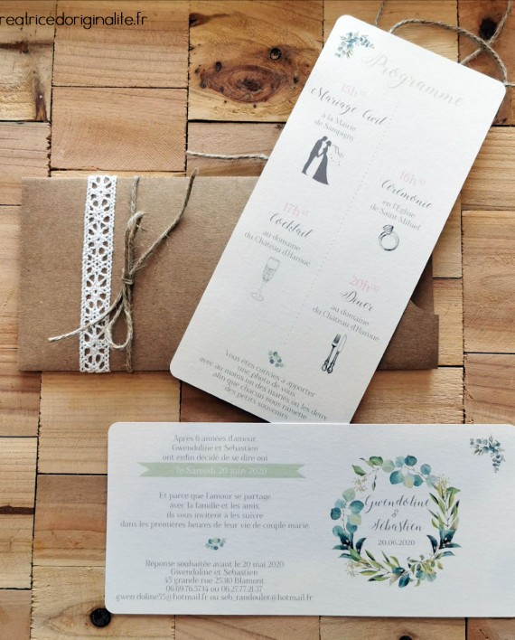 faire-part pochette kraft couronne feuille eucalyptus 3 (logo)