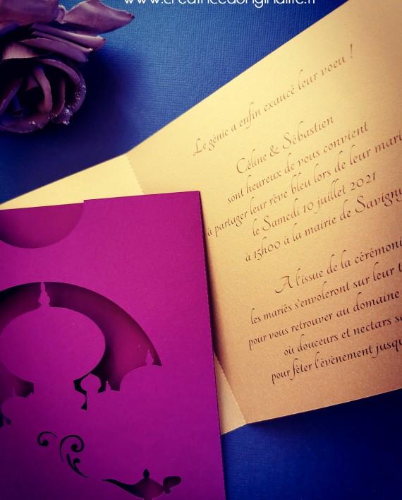 faire-part pochette oriental aladdin jasmine dinsey 4 logo