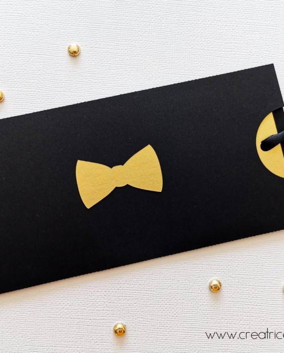 faire-part pochette noeud papillon noir or 1