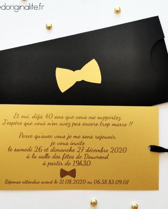 faire-part pochette noeud papillon noir or 2