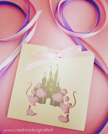 faire-part pochette chateau mickey minnie