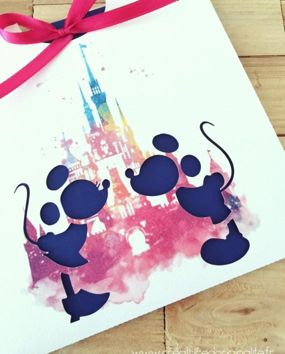 faire-part pochette chateau mickey minnie aquarelle 2