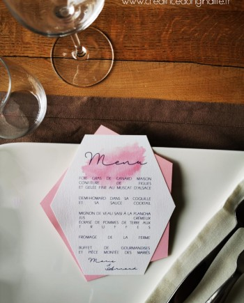 menu geometrique rose