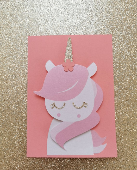 faire-part carte licorne paillette reveur 2