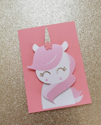 faire-part carte licorne paillette rieur