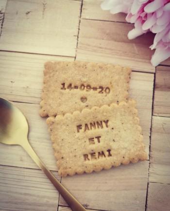 biscuits personnalisés mariage noisette