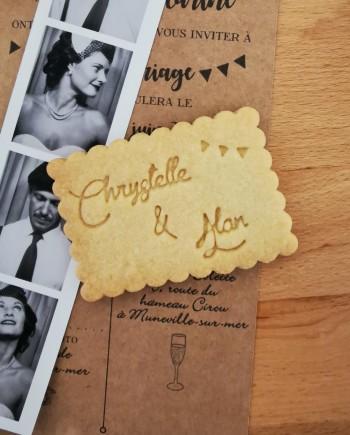 biscuits personnalisés mariage vintage nature